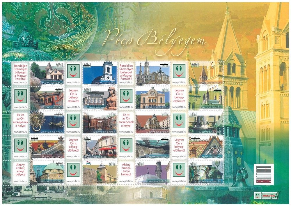 Your Own Pécs Stamp (without value indication) sheet