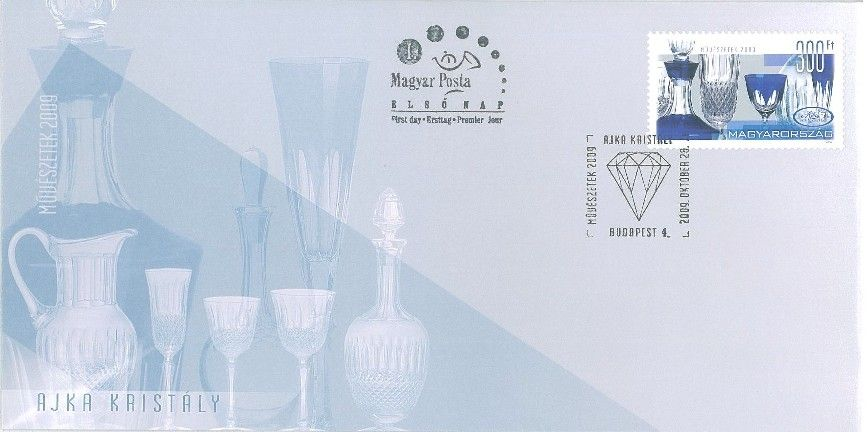The Arts 2009 Ajka crystal glass FDC