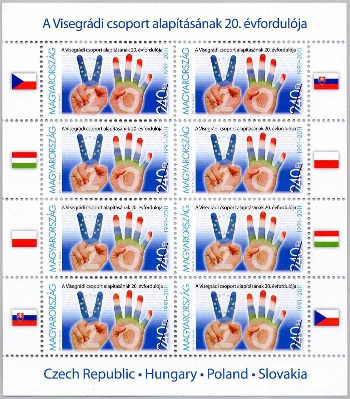 20th anniversary of the formation of the Visegrád Group (Czech, Hungarian, Polish, Slovak joint stamp issue) / Hungarian