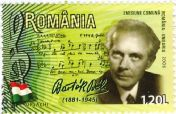 Romanian stamp: Famous composers (Bartók)
