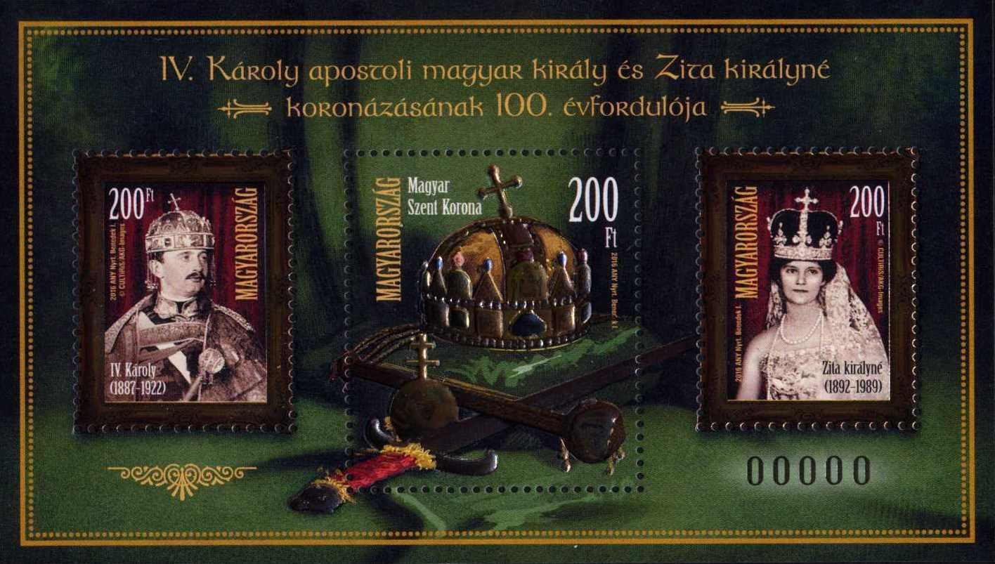Hungarian Saints and Blesseds IV  - Centenary of the coronation of Blessed King Charles IV and Queen Zita - spec. stampblock