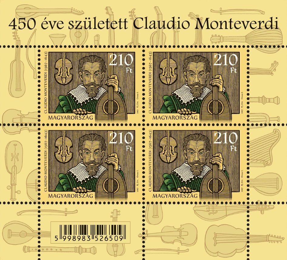 Claudio Monteverdi was born 450 years ago (miniature sheet)