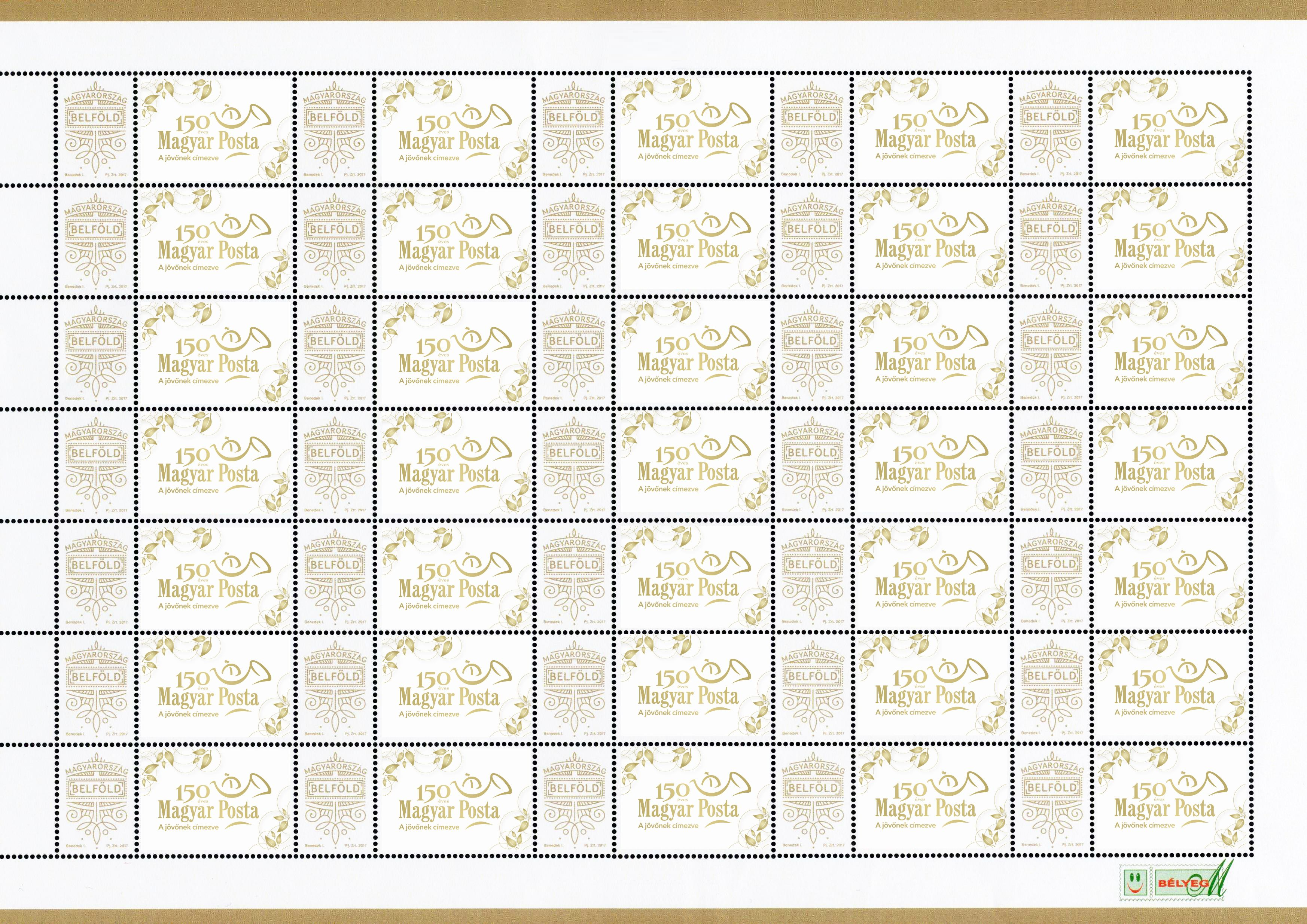 Very own stamp: Magyar Posta is 150 years old - sheet with 35 stamps