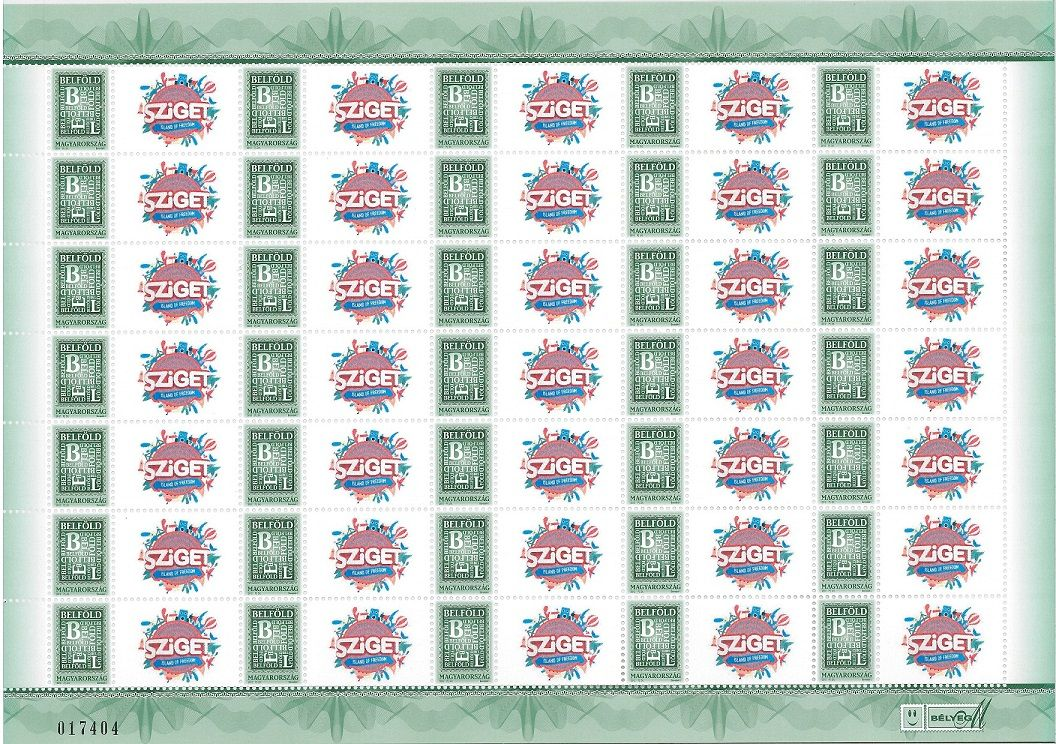 Your Own Message Stamp IV: Sziget 2016 sheet (35 stamps)