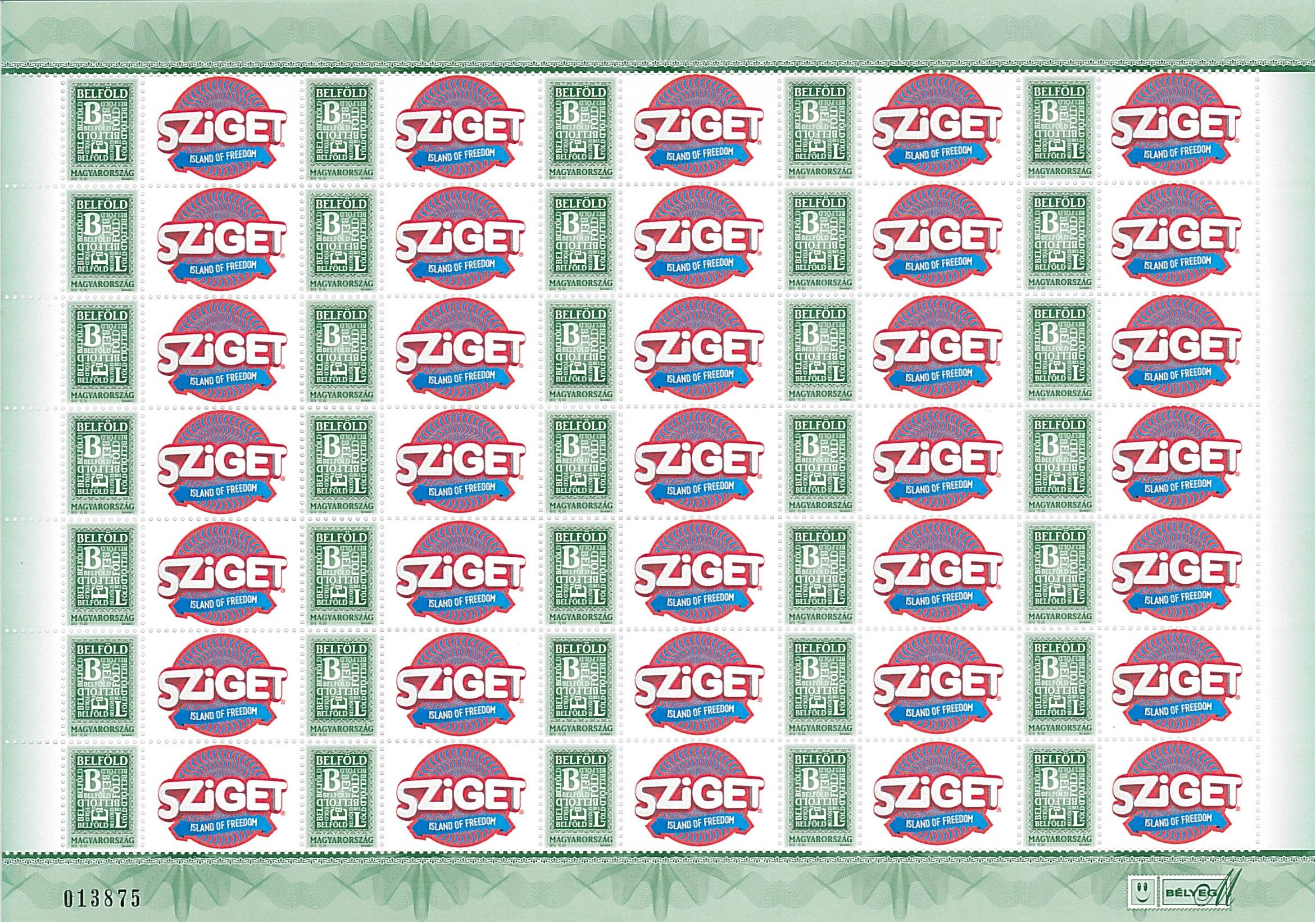 Your Own Message Stamp IV: Sziget 2015 sheet (35 stamps)